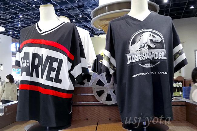 マーベルとジュラシックワールドのTシャツ