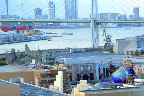ザパークフロントホテル アット ユニバーサル・スタジオ・ジャパンからのUSJサイドの景観